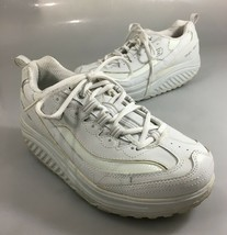Skechers Womens 9.5 Shape-Ups White Leather Toning Gym Shoes Sneakers Kicks image 1