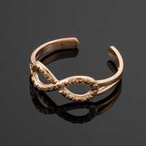 14K Rose Gold Hearts Textured Infinity Toe Ring - $59.99