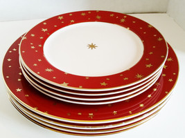 Galaxy By Sakura Red With 14K Gold Stars Fine Porcelain Dishes 12 Pieces - $102.50