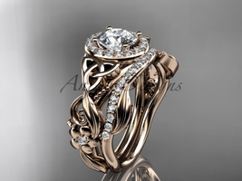 Celtic Wedding Ring Sets Rose Gold Diamond Celtic Trinity Knot Bridal Set CT730 - $2,275.00