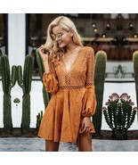 Sexy lace up v neck suede lace dress women Hollow out flare sleeve - $49.99
