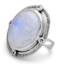 Oxidized Oval Rainbow Moonstone Ring - $77.97