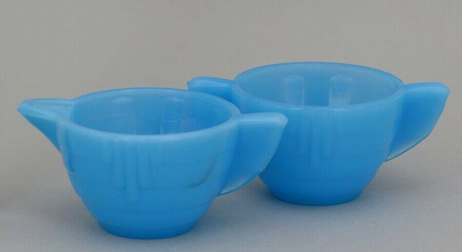 Vintage Akro Agate Toy Azure Blue Stacked Disk Interior Panel Cream & Sugar