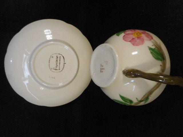 Vintage Franciscan Dessert Rose Cup and Saucer Brown Mark on Bottom