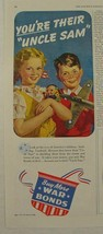 """1943 7 UP Seven Up WAR BONDS Ad America's CHILDREN """"You're Their """"Uncle ... - $9.99"""