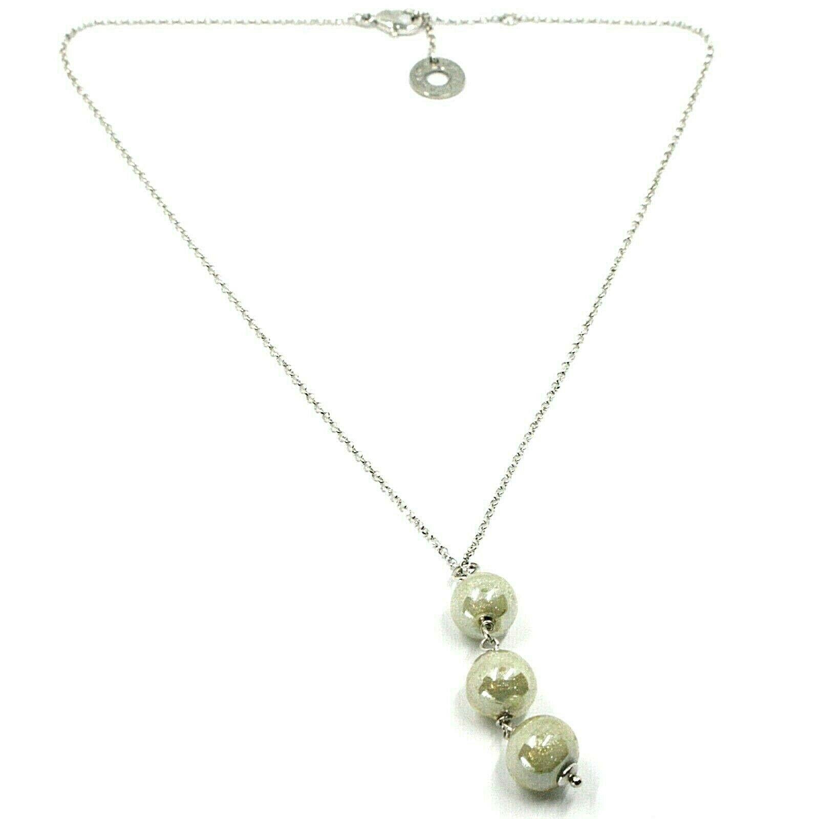 Necklace Antica Murrina Venezia, COA02A02, Spheres Grey Hanging, Chain Rolo '