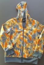 Nike Boys Zip Front Hoodie Size L Orange Gray Splatter 12 - 13 years - $18.05