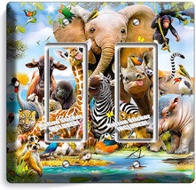 African Jungle Animals 2 Gang Gfi Lightswitch Wall Plate Baby Nursery Room Decor - $11.69