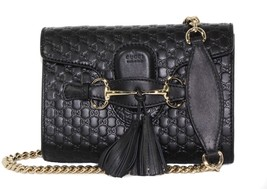 NWT GUCCI 449636 Emily Small Microguccissima Leather Shoulder Bag, Black - $1,450.50