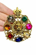Golden Lion Head Fleur-de-Lis Multicolor Rhinestones Large Round Brooch Pin - $17.10