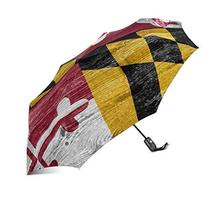 InterestPrint American Maryland State Flag Wooden Background Windproof Auto Open - $25.73