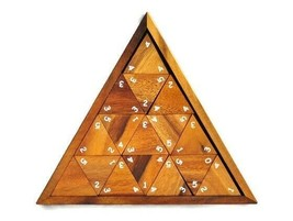Triomino Wooden Game Dominoes Set in Triangle Box Unique Combination of ... - $74.54