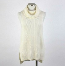Angel of The North Sweater Vest Cowl Neck Wool White Knit Hi Low Anthrop... - $38.60