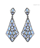 Diamond 925 Sterling Silver Moonstone Dangle Earrings Vintage Inspired J... - $204.26