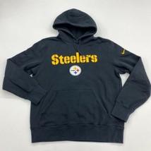 Nike Hoodie Mens M Black Pittsburgh Steelers NFL Football Logo Kangaroo Pocket - $24.95