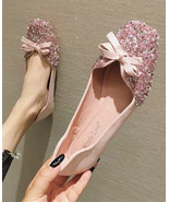 Girls Pink Crystals Ballet Flats Slippers Shoes Soft Casual Shoe Wedding... - £31.79 GBP