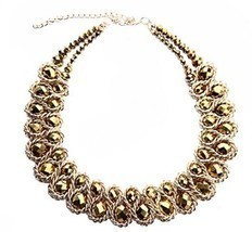 Ladies Choker Necklace Gold Tone Fashion Statement Big Multi Color - €30,30 EUR