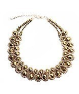 Ladies Choker Necklace Gold Tone Fashion Statement Big Multi Color - €30,74 EUR