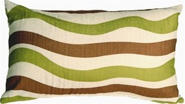 Pillow Decor - Country Stripes Green and Brown 12x20 Throw Pillow - $19.95