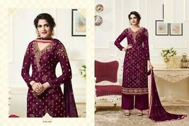 WINE DESIGNER NEW STRAIGHT KAMEEZ SUIT WITH PALAZZO PANT ETHNIC PARTY WE... - $158.50