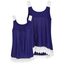 Bows and Embroidered Lace Hem Tank - $13.54