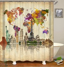 World Map Attractions | Shower Curtains | 9 Sizes 20.9$ - 34.9$ - $12.67+