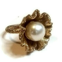 Vintage Gold Tone Ruffle Flower Pearl Adjustable Statement Ring - $15.83