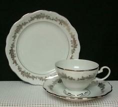 "TUXEDO Queen Anne Bavaria ""TRIO"" TEA CUP SAUCER & DESSERT PLATE Bone Chi... - $20.60"