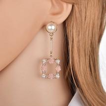 BAHYHAQ -  Imitation Pearl Stud Fashion Rose Flowers Hanging Korean Earring - $4.33