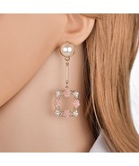 BAHYHAQ -  Imitation Pearl Stud Fashion Rose Flowers Hanging Korean Earring - $4.33