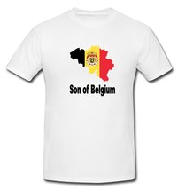 Son of Belgium Coat of Arms Country Map Flag T-shirt New White S, M, L, ... - $20.00