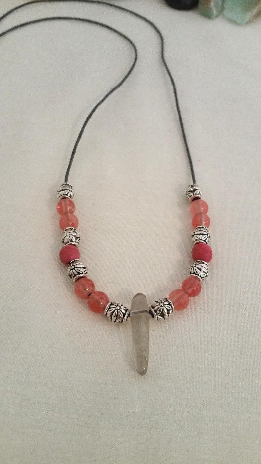 Natural Cherry Quartz Necklace with Smoky Quartz Point Women, Men, Valentines