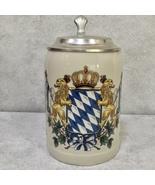 Bavaria Coat Of Arms Beer Tankard Mug Stein with Pewter Lid - $28.75