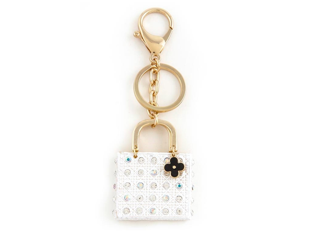 Primary image for White Crystal Stud Enamel Handbag Ornate Keychain