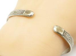 YDL TRINIDAD 925 Silver - Vintage Etched Floral Pattern Cuff Bracelet - ... - $65.36