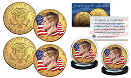 Colorized FLOWING FLAG 2018 JFK 2-Coin Set 24K GOLD Plated - Both P & D ... - $15.87