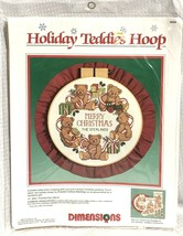 Vtg Dimensions Stamped Cross Stitch Kit Holiday Teddies Hoop Christmas 1988 New  - $14.50