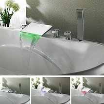 Contemporary Chrome Finish Color Changing LED Waterfall Tub Faucet - $346.45
