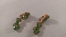 Vintage Green Rhinestone Clip Earrings D7 - $6.92