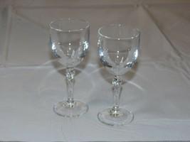 "Crystal Sherry Glass Cordial shot Liquor 4 1/4"" X 1 7/8"" set of 2 glasses - $21.51"