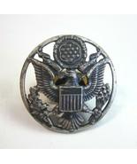 Vintage US Military WWII E Pluribus Unum Eagle Crest Screw Hat Pin Badge - $15.99