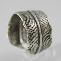 925 Silber Ring Brüniert Bandeau Geformt Feder Made in Italy image 2