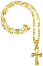 Ankh Nuevo Egipcio Collar Colgante Con Pedrería En 61cm Largo Cadena Figaro - $17.33