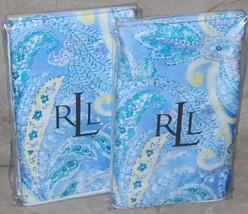 2 RALPH LAUREN Jamaica Blue Paisley EURO SHAMS NWT Cotton RARE - $117.55