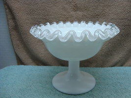 Fenton Glass, silver crest small footed milk glass compote.. - $15.00