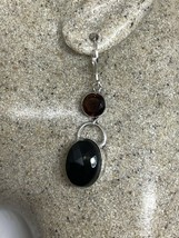 Vintage Black Onyx And Garnet Lever Back Earrings 925 Sterling Silver - $75.24