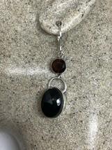 Vintage Black Onyx And Garnet Lever Back Earrings 925 Sterling Silver - $75.24