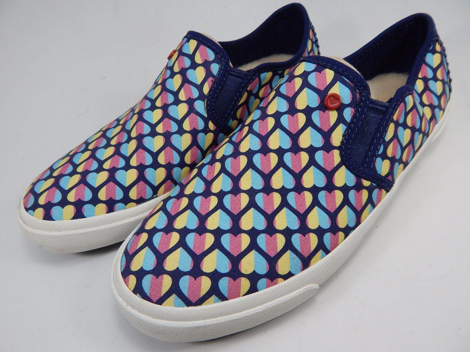UGG Australia I Heart Slip On Rainbow Hearts Slippers Flats Size 7 M Blue Pink