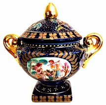Gold Gilded JK Crown Lidded Bowl Navy Blue Romantic Couple 8.5 inches Tall - $87.11