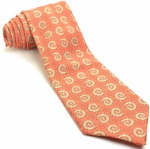 VINTAGE WEMBLON WEMBLEY 55L Wide Orange Gold Geometric Mens Neck Tie - $69.29